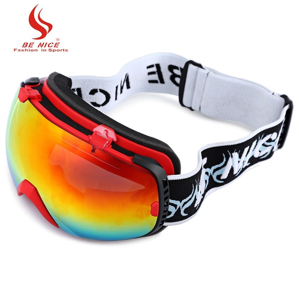 Be Nice Unisex Snowboard Goggles Double Sports Snow Ski Eyewear Anti Fog Photochromic Big Lens Outdoor Ski Goggle with Pouch