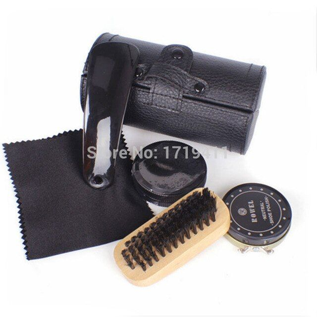 New High Quality 5 Pieces Professional Shoe Care Tool Black & Neutral Shoe Shine Polish Cleaning Smooth Wooden Brushes Set