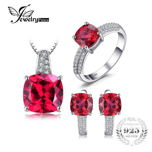JewelryPalace Created Ruby Ring Necklace Clip Earring Jewelry Set 925 Sterling Silver Jewelry Set Fine Jewelry for Women