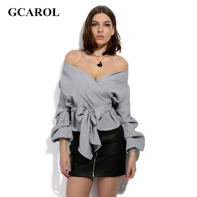 GCAROL 2017 New Women Slash Neck Bowknot Blouse Ruched Sleeve Wrap Shirt Fashion Sexy Character Tops For 4 Season