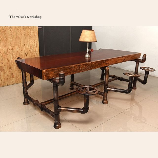 American Industrial Pipe Office Furniture Golden Years Series Creative Pipeline Solid Wood Table Boss Table Office Desk -J001