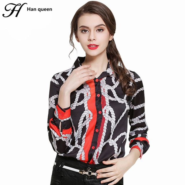H Han Queen New Shirts Women Blouses Vintage Printing Work Casual Loose Tops New Fashion Turn-down Collar Chiffon Blouse Female