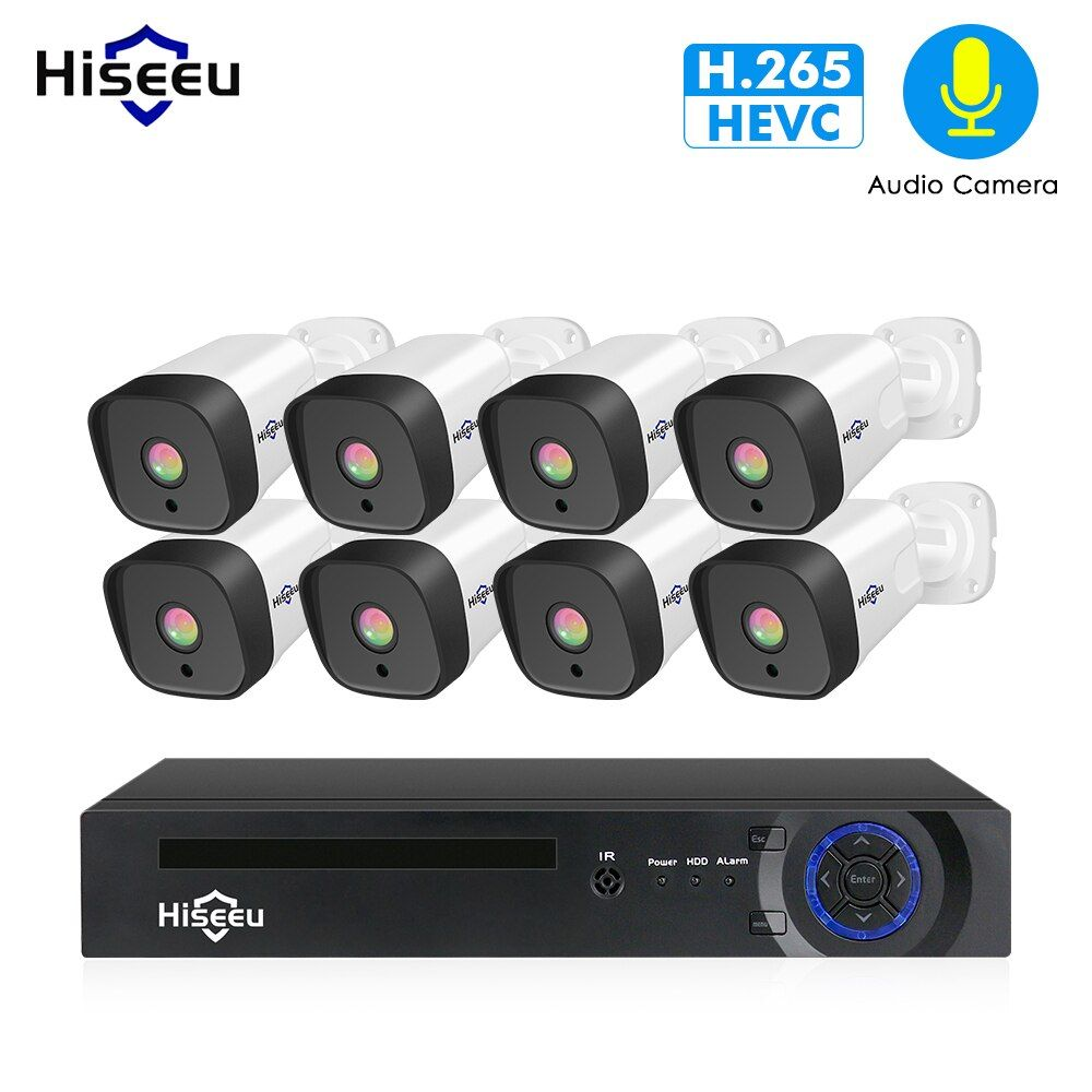 Hiseeu 1080P POE NVR Kit 8CH H.265 CCTV camera System Outdoor 2MP audio IP Camera Home Security camera system video Surveillance