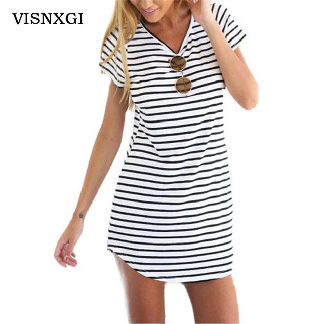 New Arrive Female Sundress Black White Striped O Neck Mini Dress Woman Summer Brief Dress Plus Size Women Clothes Robe Sexy S200