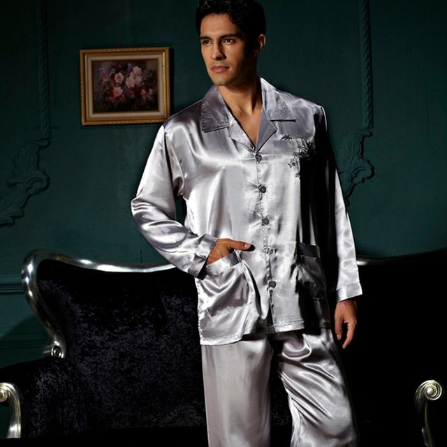 XIFENNI Brand Men Pajamas Sexy Satin Silk Pyjama Long Sleeve Pajama Pants Sets Embroidery Grey Sleepwear Lounge Sets 3313