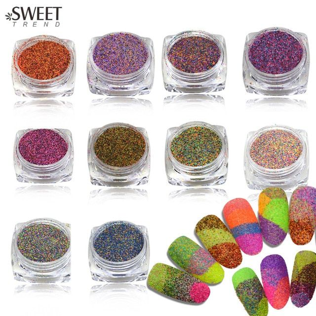 1bottle Shining Sugar Glitter Dust Powder Nail Art Decor Acrylic Nail Glitter Powder Dazzling Finest Nail Accessories LA533-542