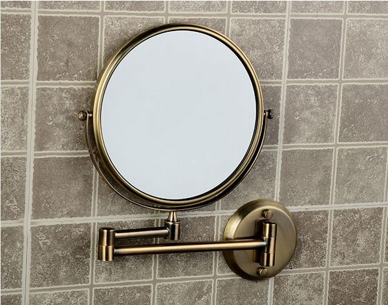 Hot Sale Bathroom Anti-bronze Wall Mounted 8 inch Brass 3X/1X Bath Mirror Folding Makeup Mirror Cosmetic Mirror Lady Gift