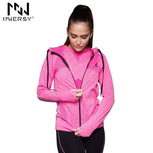 Innersy Women Sport Jackets Zipper Hooded Running Coat Quick-dry Long-sleeved Sweatshirt Fitness Outerwear Top chaquetas Jzh73