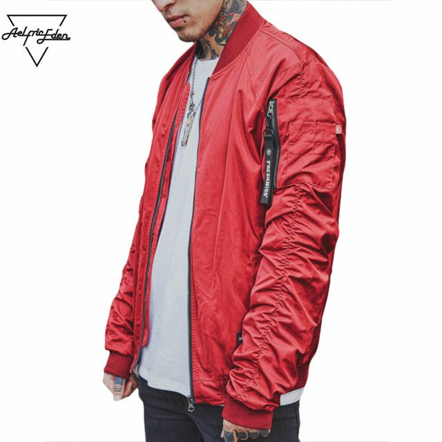 Aelfric Eden Jacket Men Ruched Sleeve Mens Bomber Jacket Ribbons  Military Windbreaker Hip Hop Streetwear Tactical Jacket As027