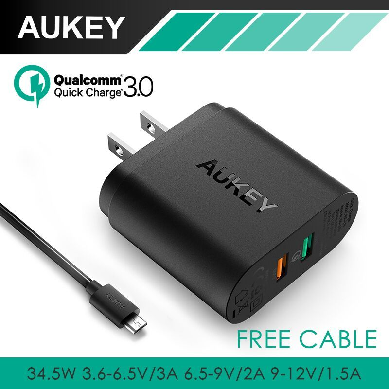 AUKEY For Qualcomm Quick Charger 3.0 Tech 34.5W 9V 12V 2 Ports USB Quick Charger for Samsung S7 Edge Note5 LG G5 Nexus 6 Xiaomi