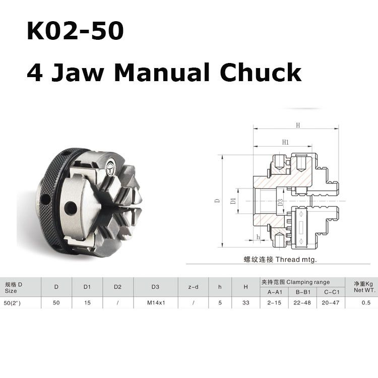 "Mini 2"" 4 Jaw Lathe Chuck Cartridge K02-50 50mm Manual Self Centering M14 Thread Mount Reversible Jaws 1PK Accessories for Lathe"