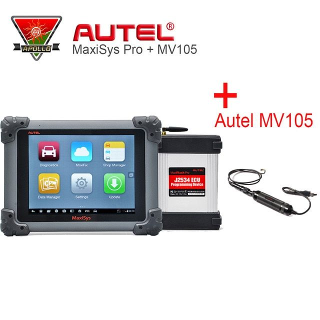 Autel MaxiSys Pro MS908P ECU Programming Car Diagnostic Tool with J2534 & Autel MV105 MaxiVideo Car Scanner Maxisys MS908 Pro