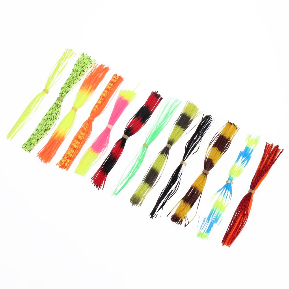 PVC 12 Bundles Silicone Legs Barred Color Pearl Flake Fly Tying Material Squid Lure Thread Fishing Lures