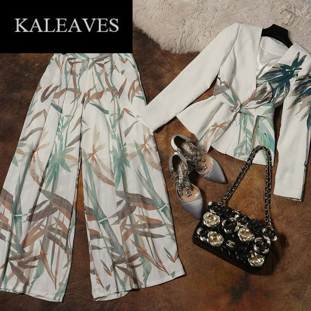 Runway Elegant Pants Set OL Women's Winter2016 Fashion Ink Printed Long Sleeve Belt Suit Jacket + Translucent Wide Leg Pants Set