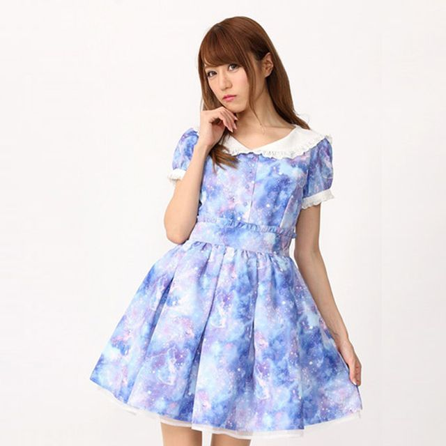 Japanese Sweet & Cute Sky Print Sailor Collar OP Lolita Dress