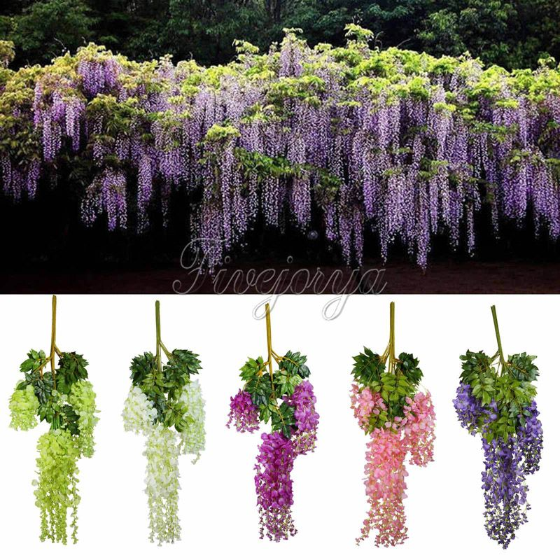 12pcs 105cm Silk Artificial Hanging Flower Silk Wisteria Plants Fake Flower Decorative Flower Wreaths for Wedding Home Decor