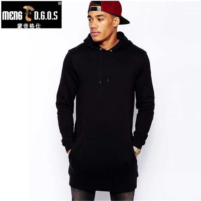 New Arrival Free Shipping Fashion Men's Long Black Hoodies Sweatshirts Feece With Side Zip Longline Hip Hop Streetwear Shirt