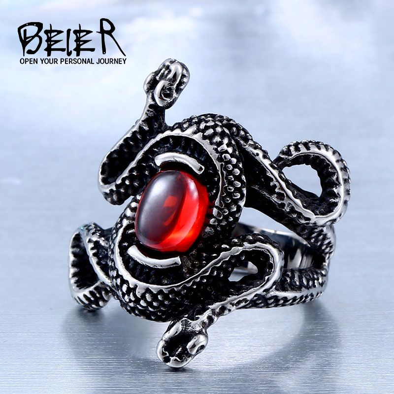 Antique Double Head Snake Rings With Women High Quality 316L Stainless Steel Animal Jewelry BR8-277 US Size