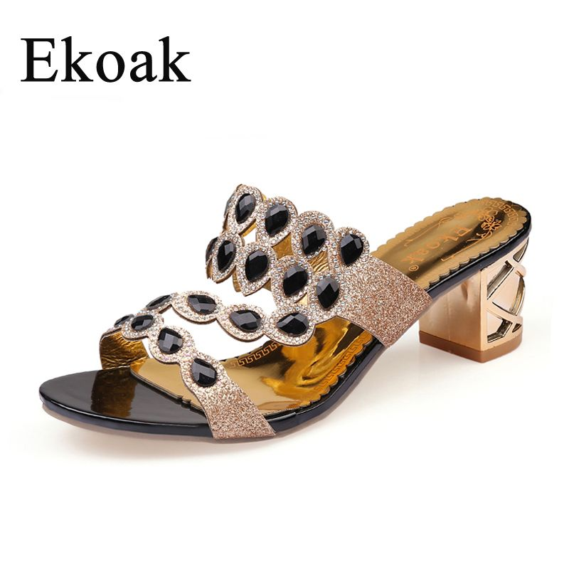 Ekoak Size 36-41 New 2018 Summer Fashion Rhinestone Cut-outs Women High Heel Sandals Ladies Party Dress Shoes Woman