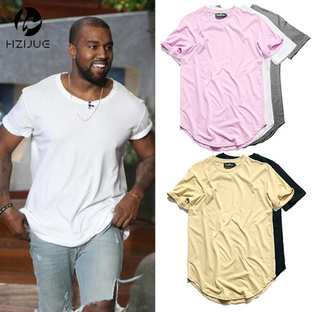 HZIJUE Curved Hem HipHop T-shirt Men Urban Kpop Extended T shirt Plain Longline Mens Tee Shirts Male Clothes Justin Bieber Kanye