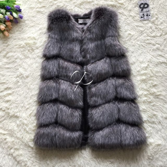 CP Brand Faux Fur Vest Winter Warm Long Women Faux Fox Fur Vest Furry Slim Woman Fake Fur Vest Plus Size Fur Vests High Quality