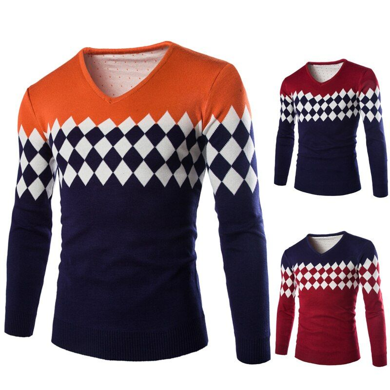 2015 Winter Sweater Men V-neck Casual Knit Jumpers Sweaters Mens Long Sleeve Pullovers Famous Brand Sweater Logo Men Stylish B01