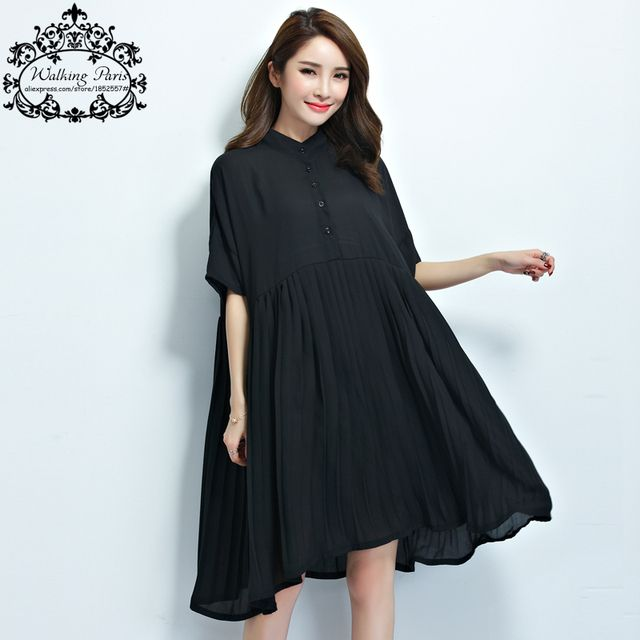 Plus Size New Women Chiffon Blouse Summer Style Dress Solid Female Clothes O-Neck Big Size Fashion Midi Dresses Black Red Tops