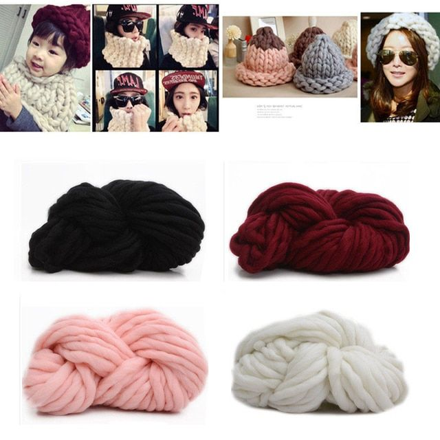 Fashion DY Hand Knitting Blanket Hats Super Thick Chunky Yarn Roving Bulky Yarn Super Big Knit Woolen Yarn 250g per lot