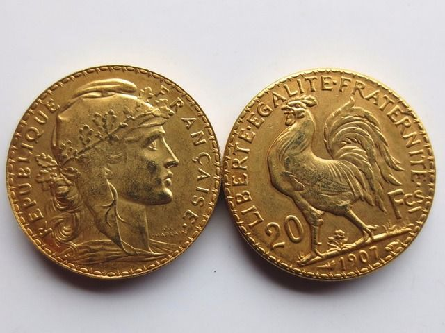 France 20 Francs 1907 Rooster 24K Gold Copy Coin Free Shipping