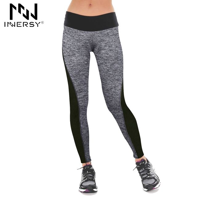 Innersy 2016 New black and gray life the hip patchwork elastic high waist sport leggings simple yoga pants Jzh118