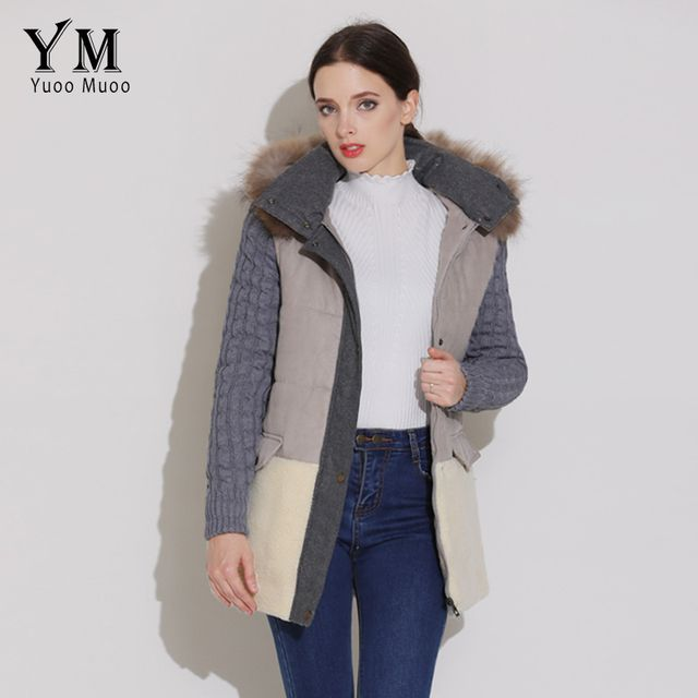 YuooMuoo High Quality Natural Fur Collar Winter Coat Women Warm Parkas Wool Patchwork Jacket Fashion Parkas for Women Winter