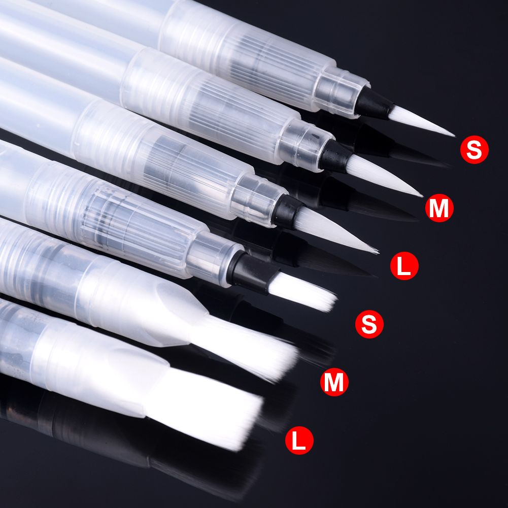 6 PCS Portable Paint Brush Water Color Brush Pencil Soft Watercolor Brush Pen for Beginner Painting Drawing Art Supplies