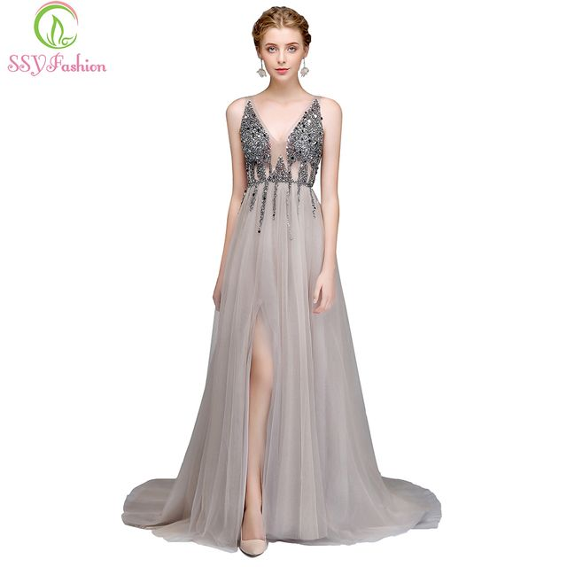 SSYFashion New Luxury Evening Dress Sexy V-neck Backless Beading High-split Tulle Long Prom Gown Custom Party Formal Dresses