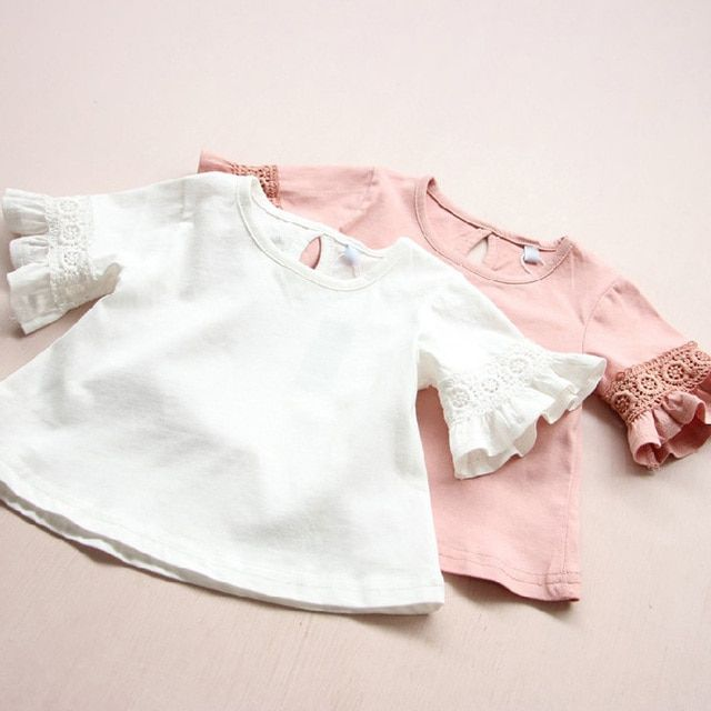 2018 Autumn Summer Children Girls Cotton T shirts White Lace PINK Flare Ruffle Tops for kids Baby Girls Cute Clothes