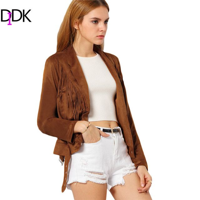 DIDK Womens Casual Coats For Autumn Ladies Plain Brown Lapel Long Sleeve Single Button Tassel Vintage Short Jacket
