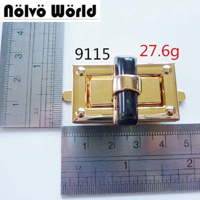 10pcs light gold tone with black turn twist lock,bags handbags turn lock with good quality