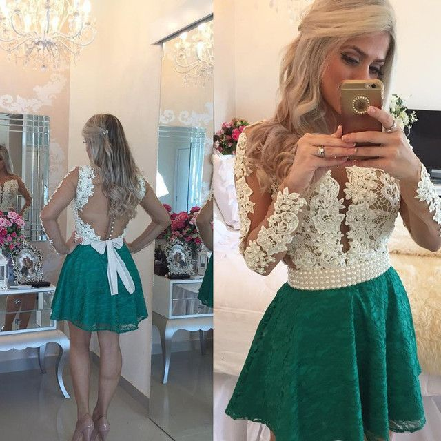 Sexy V Neck Lace Short Homecoming Dresses 2017 With Long Sleeves Sheer Back Girls Prom Cocktail Party Gowns