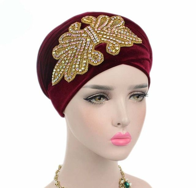 New fashion women gorgeous Embellished Crystal Jewelry Extra Long Velvet Turban Hijab Head Scarf Head Wraps Turbante
