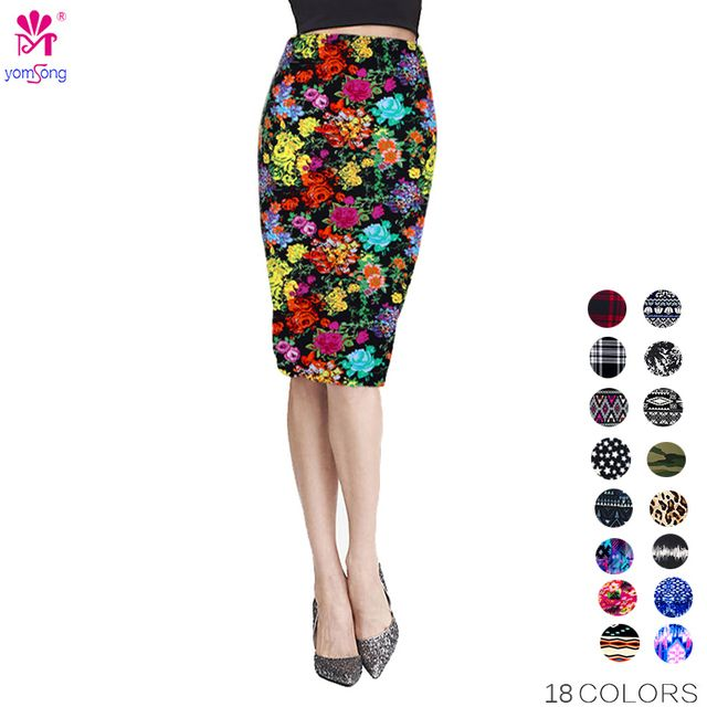Ship from US Yomsong New Fashion Wholesale Summer Women's Pencil Skirt  High Waist Floral Printing Midi Skirt  21 Colors 204