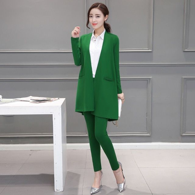 2016autumn new casual fashion women clothing long sleeve solid colo big size coats ankle-length pencil pants two pieces set suit