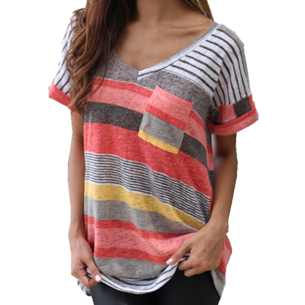 S-5XL Women  Loose Shirt Top New Summer Short Sleeve V-Neck Striped Casual T Shirt 2016 Fashion T-Shirt Blusas HM1016