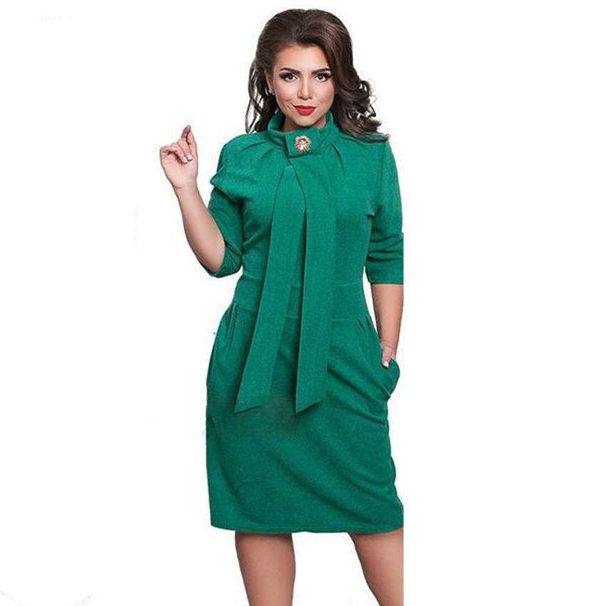 2020 New Designer Dress Women Plus Size Vestidos Felame Ladies Turtleneck 6XL Knee Length Oversized Sexy Knee Length Dress Party