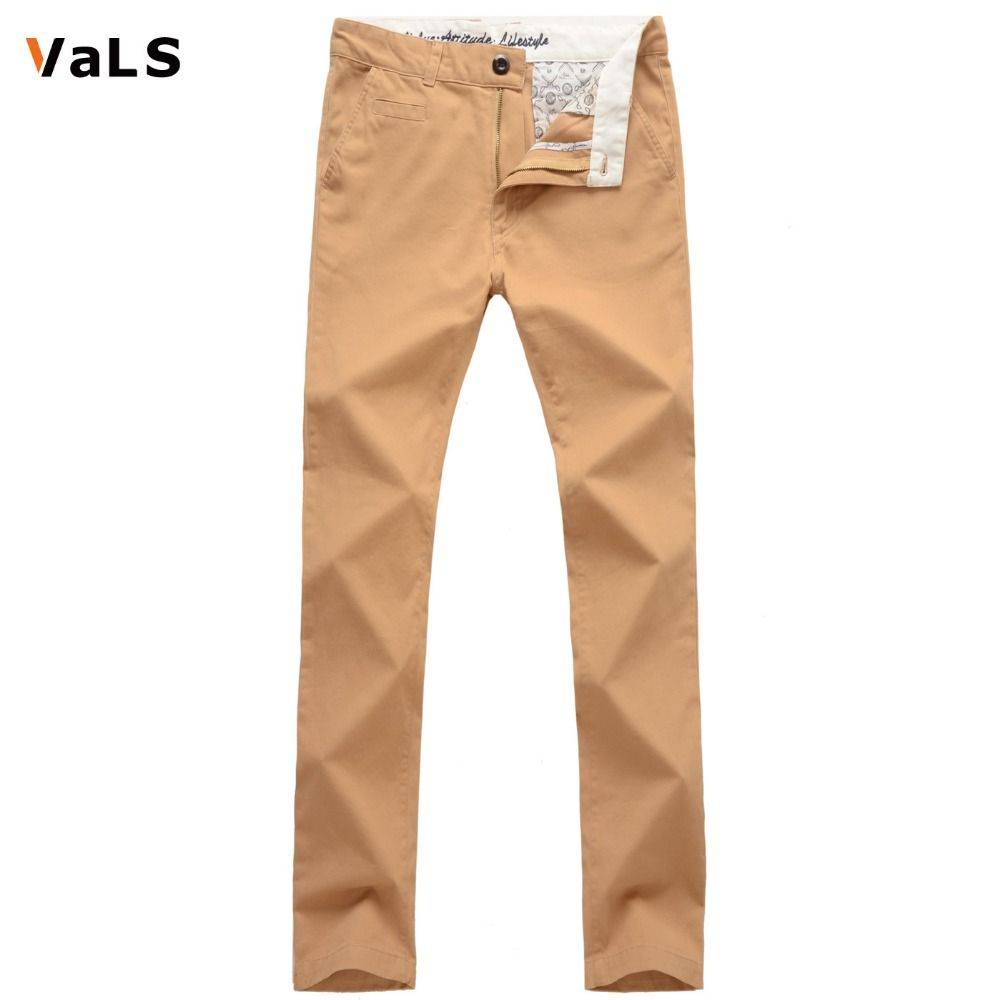 Brand VaLS New Arrivals Men Fashion Casual Straight-Fit Front-Flat Long Pants Pure Color