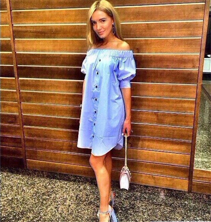 2016 New Arrivals Fashion Summer Sexy Off Shoulder Party Dresses Yellow&blue&pink Casual Beach Dress Plus Size