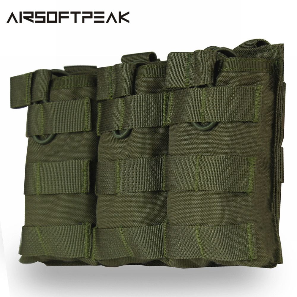 AIRSOFTPEAK Tactical Molle Triple Open Top Magazine Pouch Universal Holster Gun Holster Concealed 1000D Nylon Bag Hunting Pouch