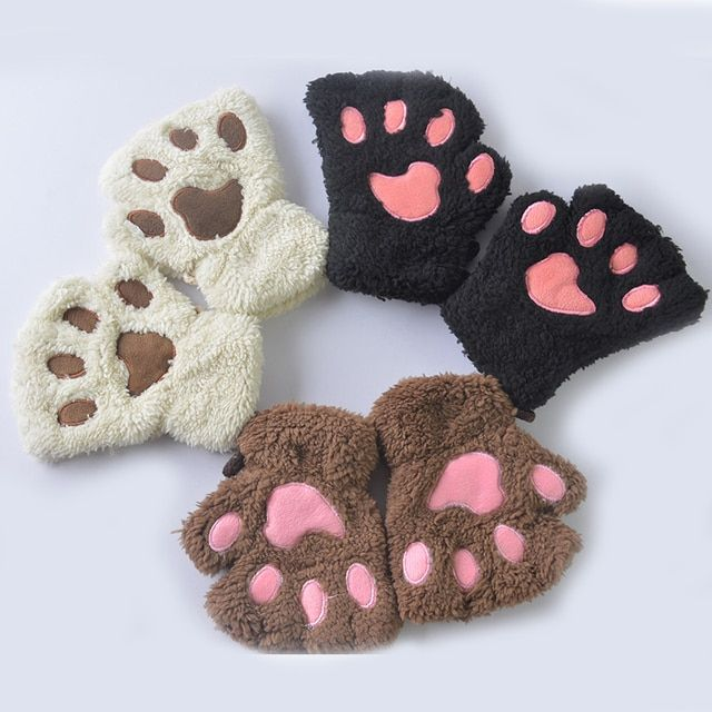2017 Winter Lovely Kids Boys Girls Plush Gloves Bear Cat Claw Paw Mittens Children Short Finger Half Gloves