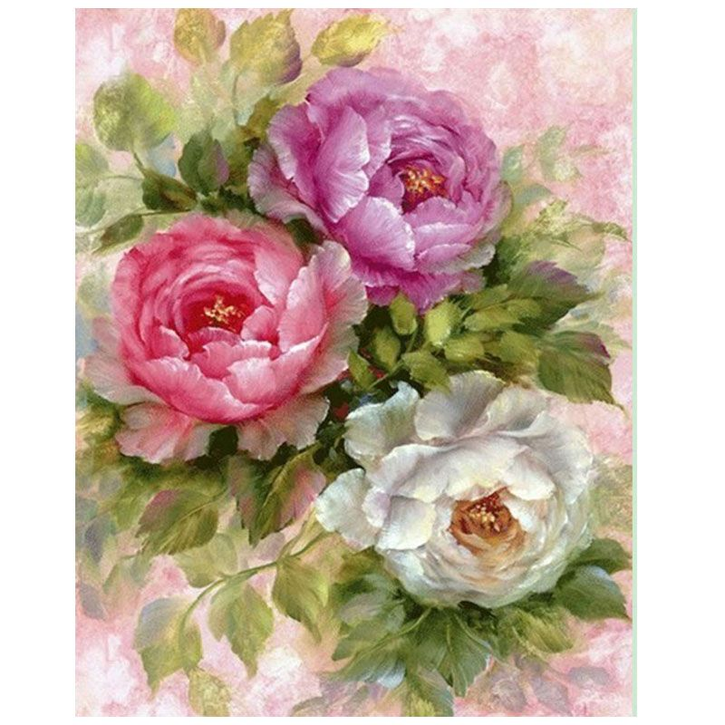 5d diamond embroidery peony flower diamond painting flower round diamond mosaic cross stitch  diamond embroidered picture