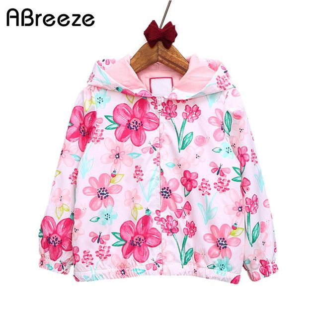 Abreeze New spring&autumn children coats fashion floral girls hooded jackets 2-7T long sleeve outerwear for kids girls CQ08
