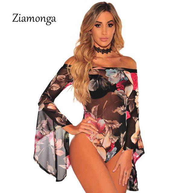 Ziamonga Sexy Leotard Overall Women Bodysuit Top Long Sleeve Combinaison Femme Floral Printed Jumpsuits Women's Bodysuit