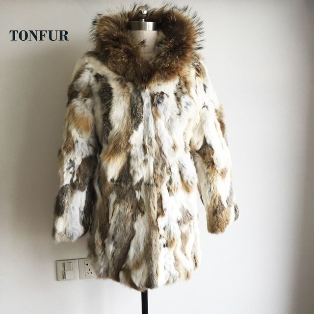 Women New Real Natural Rabbit fur Coat with Raccoon Fur Collar Jacket Female design Warm Winter TP141